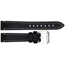 Ремень ASTEL 18 мм (чёрный с белой нитью ,застёжка хром)