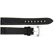 Ремень ASTEL 18 мм (чёрный с зелёной нитью ,застёжка хром)