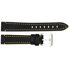 Ремень ASTEL 18 мм (чёрный с жёлтой нитью ,застёжка хром)