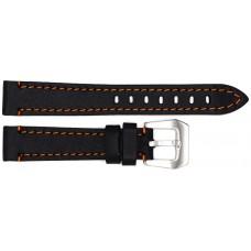 Ремень ASTEL 18 мм (чёрный с оранжевой нитью ,застёжка хром)