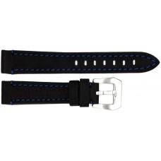Ремень ASTEL 18 мм (чёрный с синей нитью ,застёжка хром)