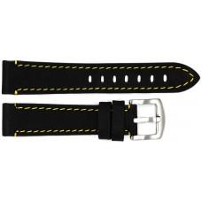 Ремень ASTEL 20 мм (чёрный с жёлтой нитью ,застёжка хром)