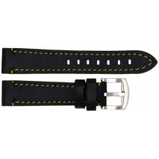 Ремень ASTEL 20 мм (чёрный с зелёной нитью ,застёжка хром)