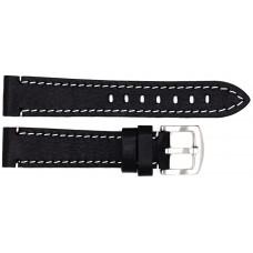 Ремень ASTEL 20 мм (чёрный с белой нитью ,застёжка хром)