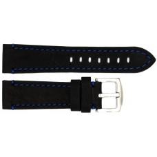Ремень ASTEL 22 мм (чёрный с синей нитью ,застёжка хром)