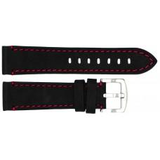 Ремень ASTEL 22 мм (чёрный с красной нитью ,застёжка хром)