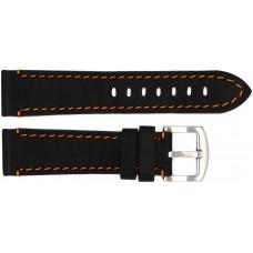 Ремень ASTEL 22 мм (чёрный с оранжевой нитью ,застёжка хром)