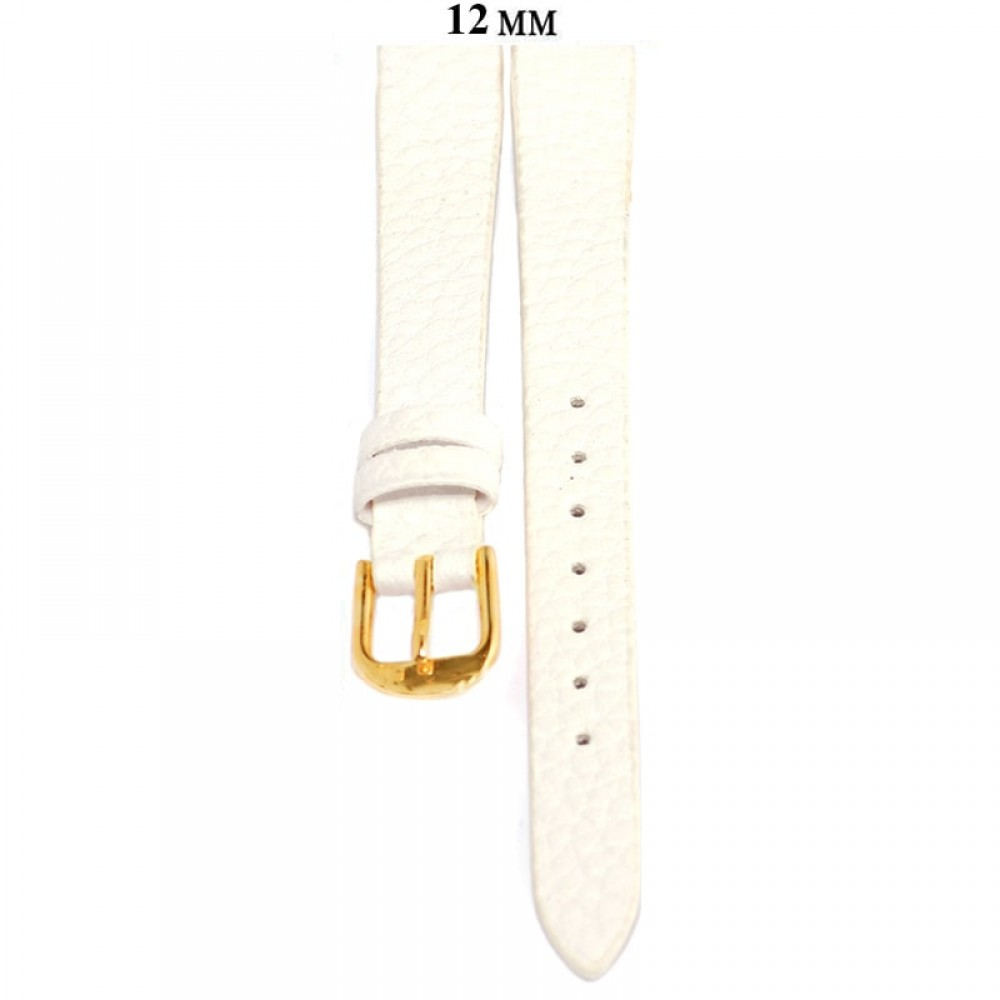 Ремень 12 мм (белый ,застёжка желтая)